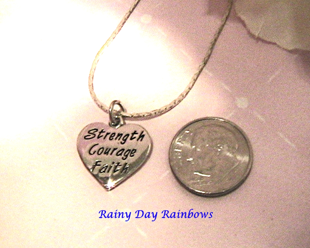 Strength Courage Faith Charm Necklace