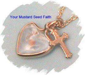 Mustard Seed Heart and Cross Necklace