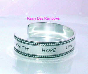 Faith Hope Love Single Cuff Bracelet