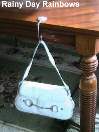 purse hook on table