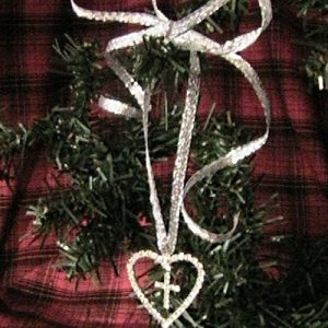 Crystal Heart with Cross Ornament