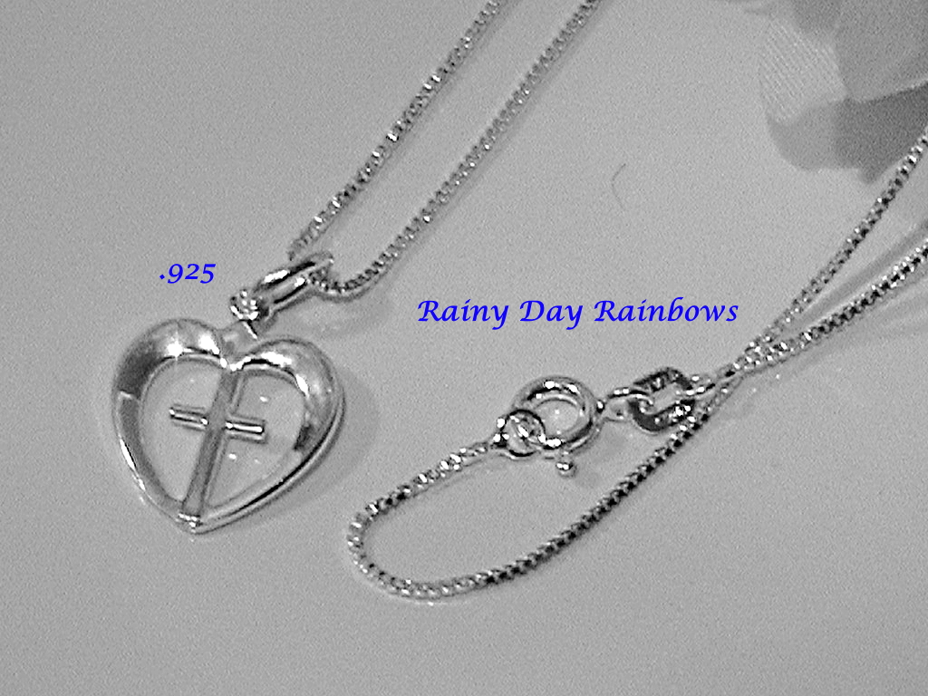 Sterling Silver Heart with Cross Necklace