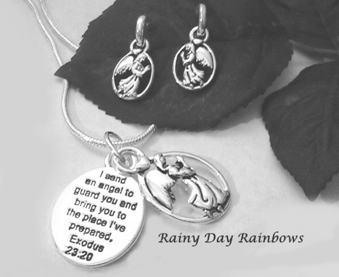 Angel Gabriel Necklace and Earrings