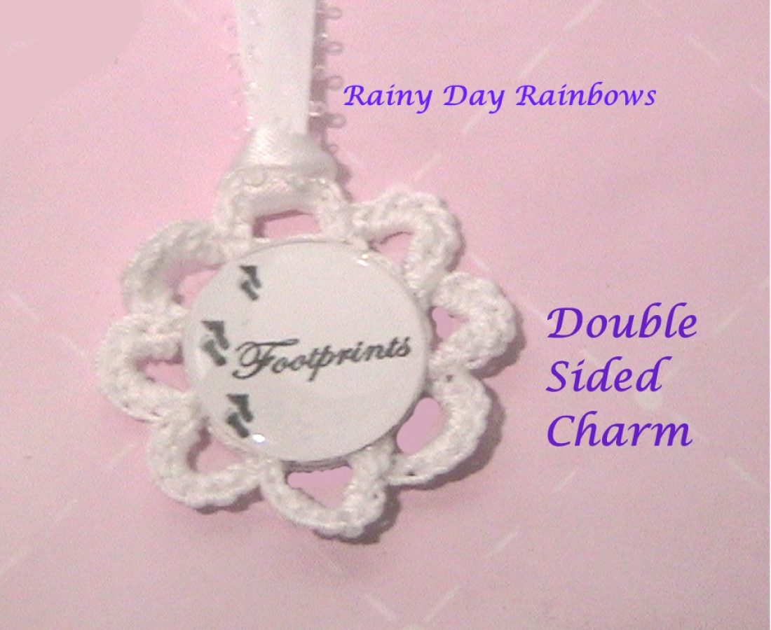 Footprints Double Sided Charm on Ribbon